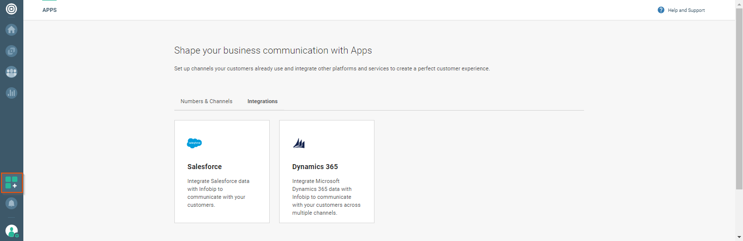 Integrations in the Apps module