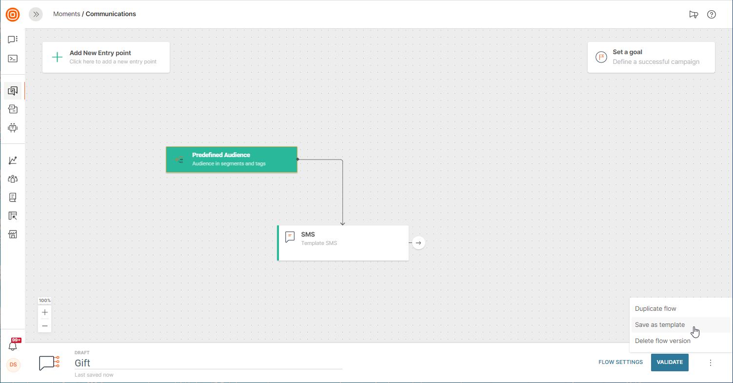 saving templates on customer engagement platform