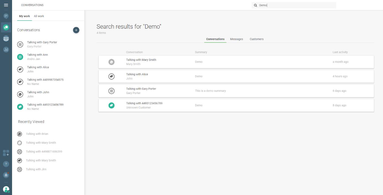 Coversations - Infobip platform - search conversations