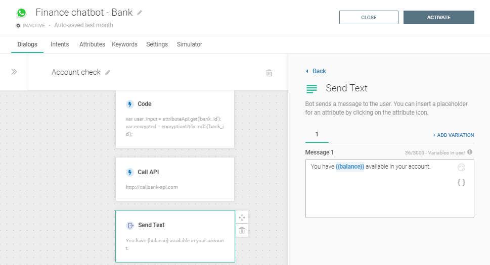 Send text element about account status