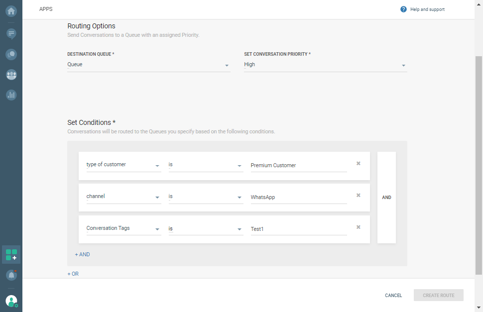 Routing options in Conversations - Set conditions for premium customers