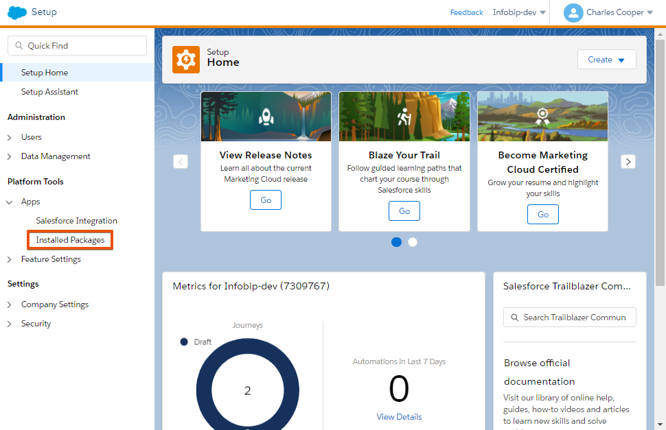 Setup - Salesforce Marketing Cloud