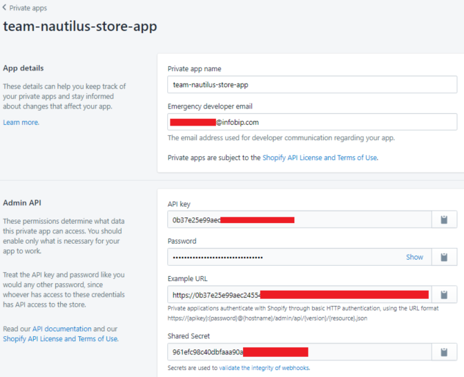 Shopify configuration settings - create new private app name