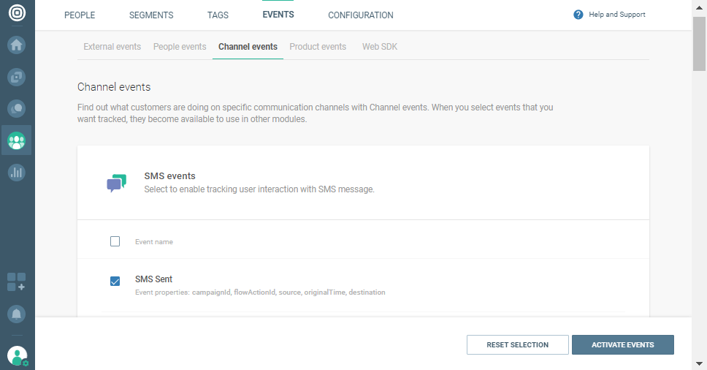 sms events on data platform