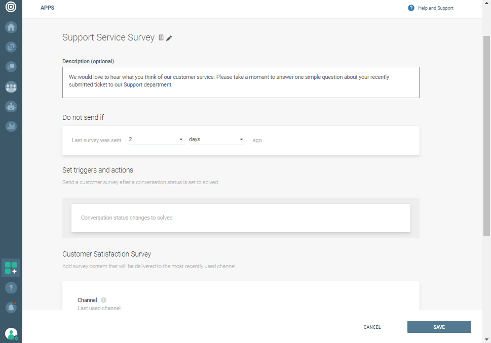 Support Service Survey - Conversations
