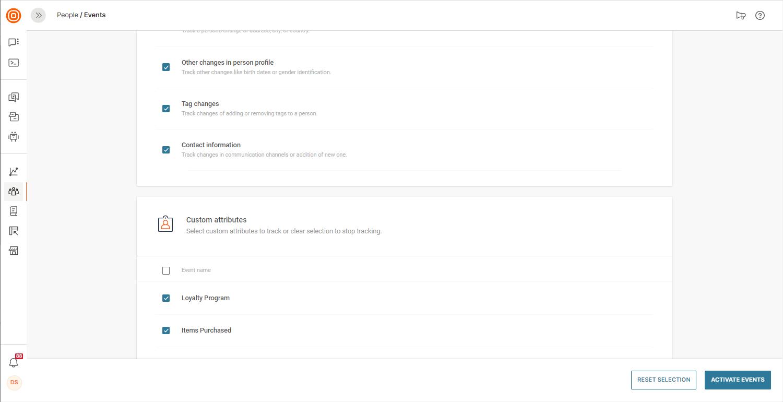 tracking customer actions on data platform