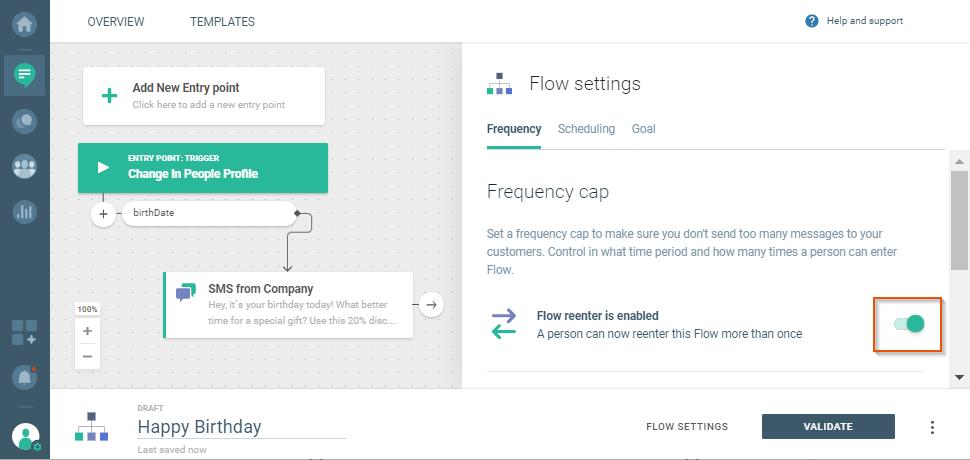 user reenters communication flow
