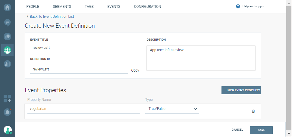 creating event definition