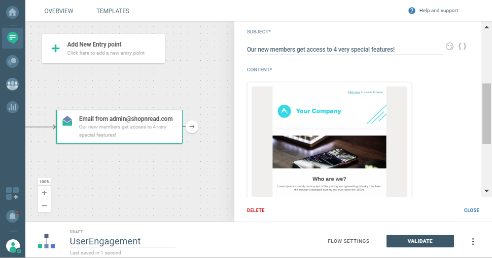 sending email to users via communication platform