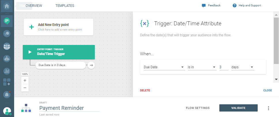 date and time communication trigger