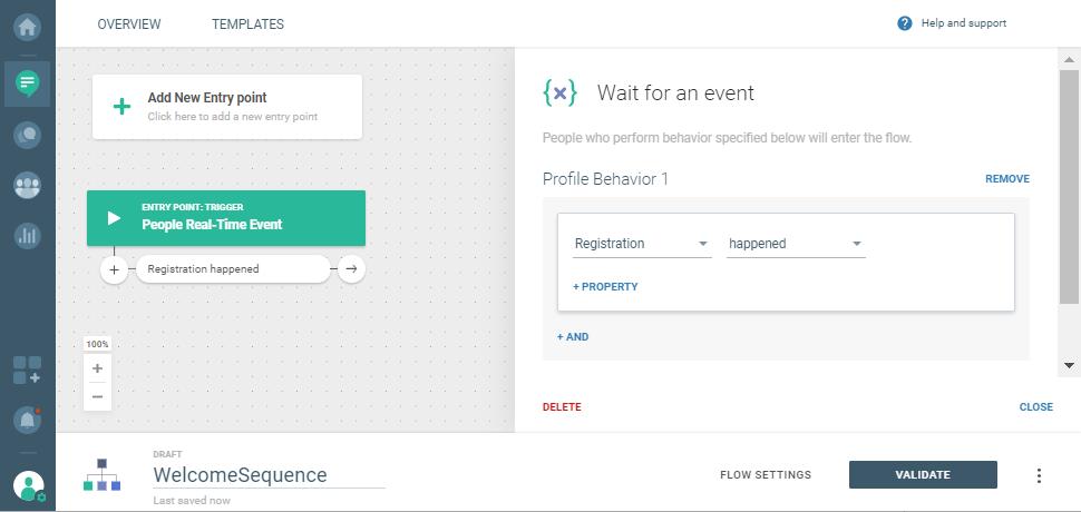 user registration event