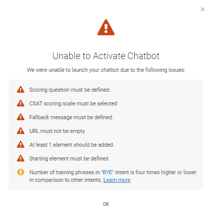 Warning and errors on chatbot activation