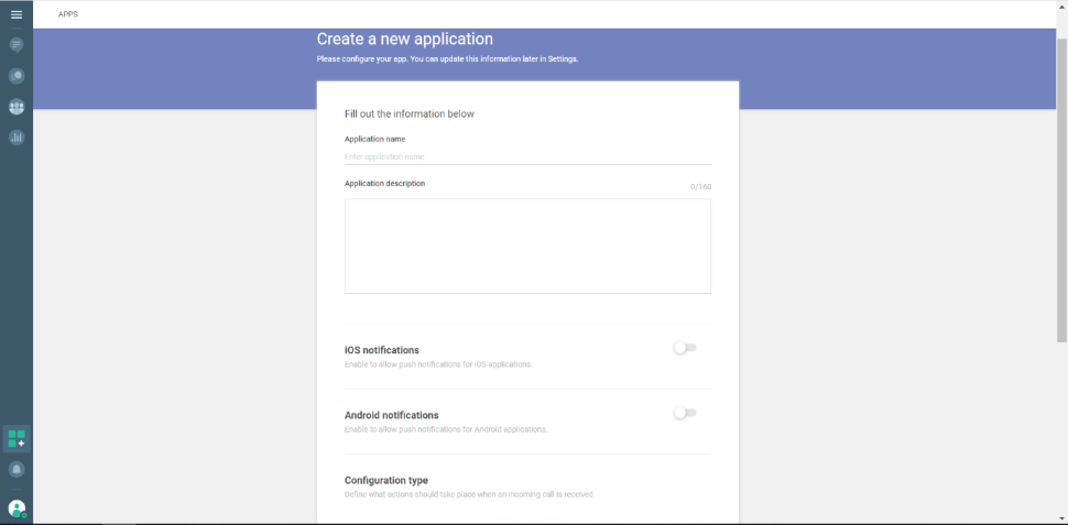 Web and In-App Calls - create application