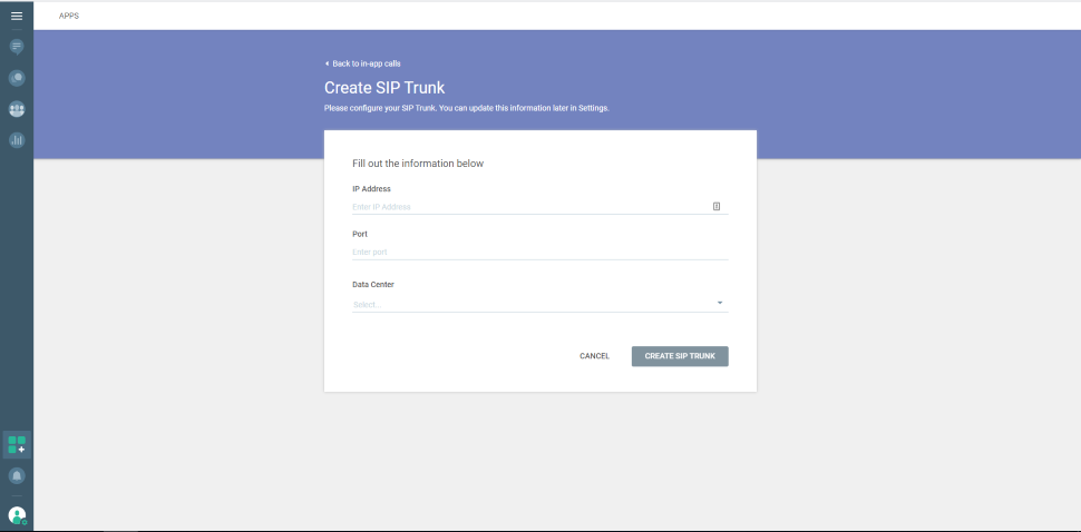 Web and In-App Calls - create SIP trunk