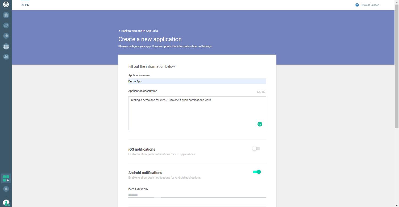 WebRTC - Create application