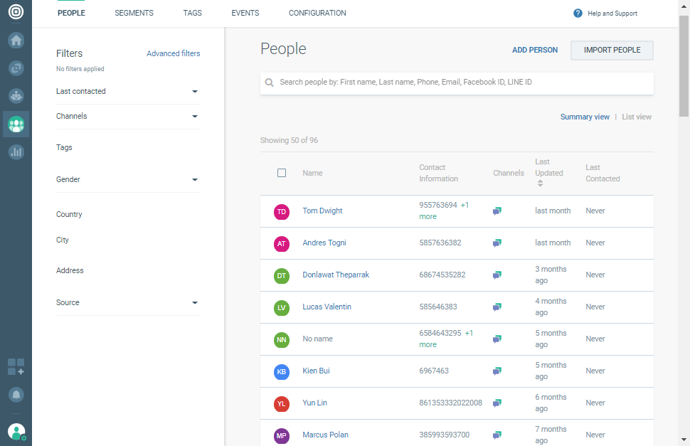 Import customer information from People