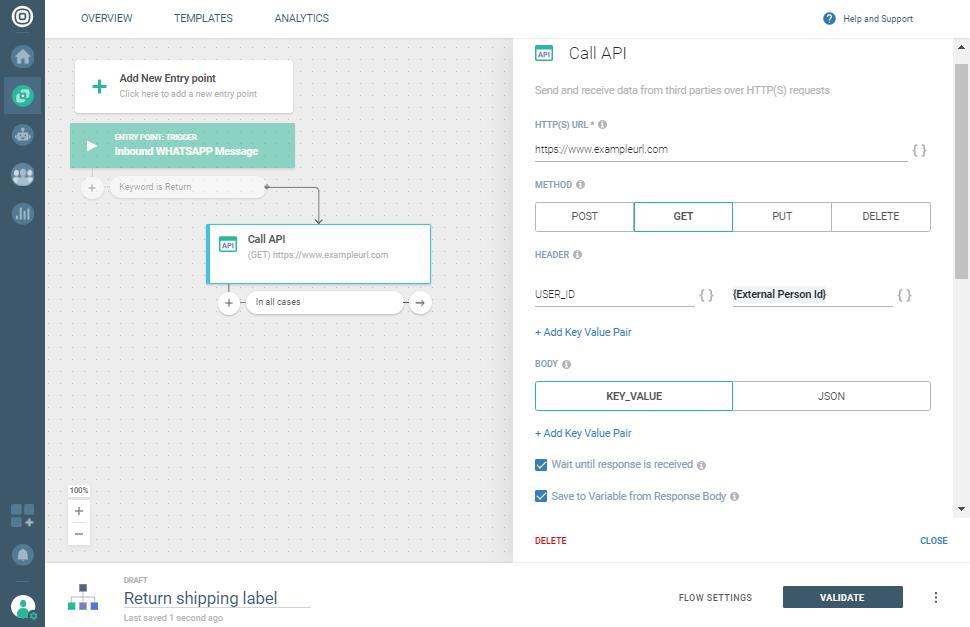 Send return shipping label - add call api element