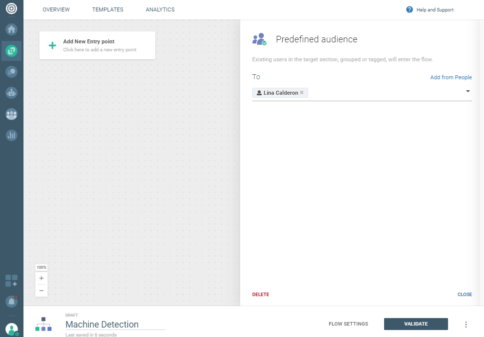 Voice use case - Answering machine detection - select predefined audience