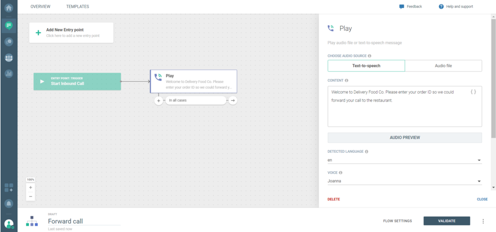 Voice use case - Forward call play panel