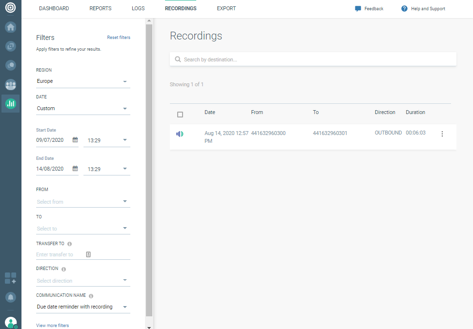 Voice Recording use case - Download recording