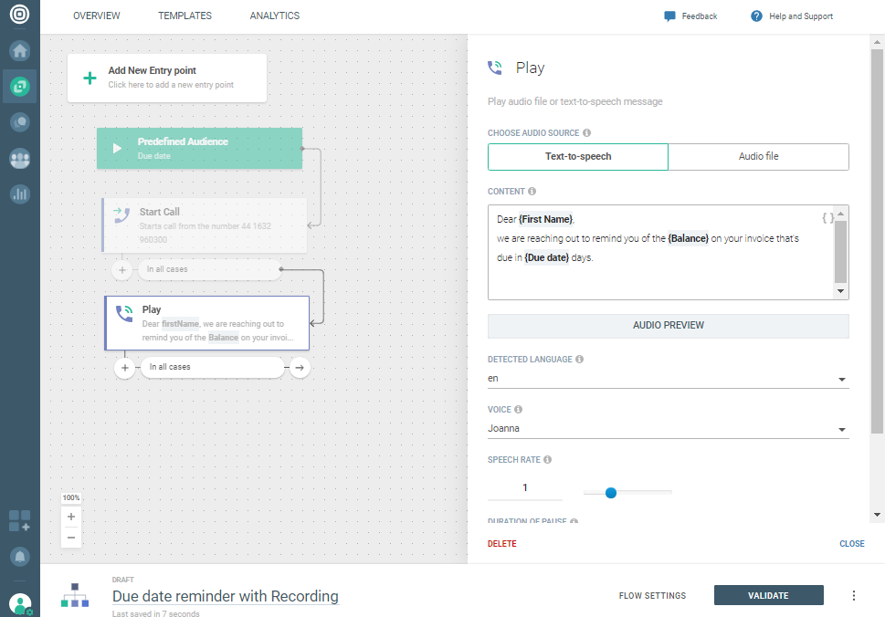 Voice Recording use case - Select play action