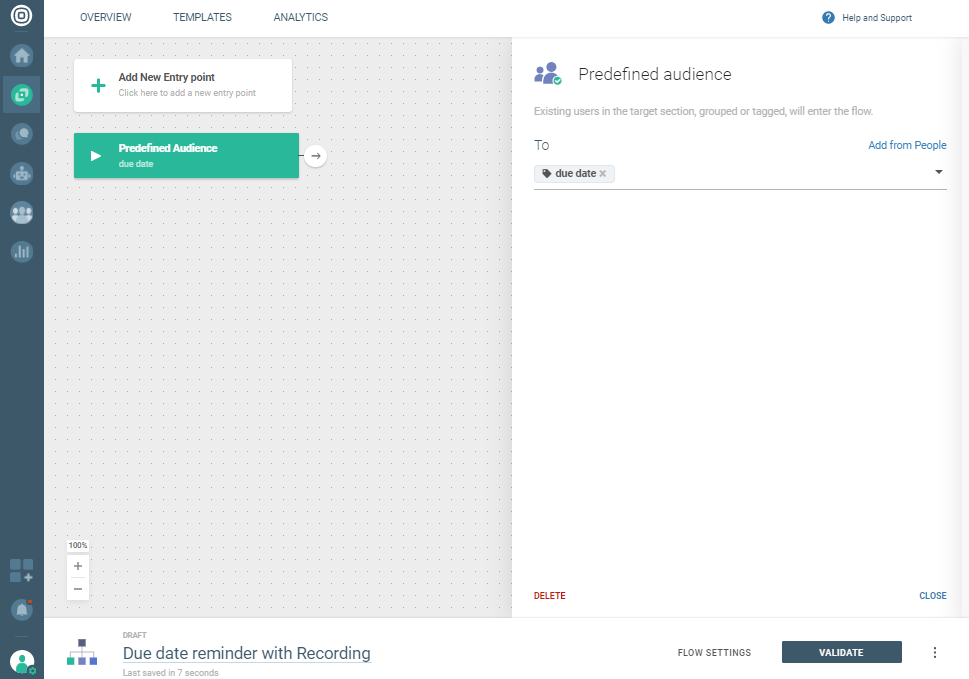 Voice Recording use case - Set predefined audience