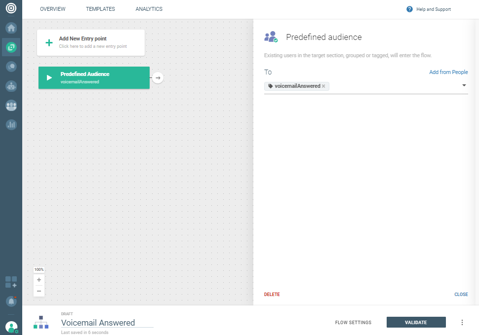 Voice use case - Answering machine detection - voicemail answered