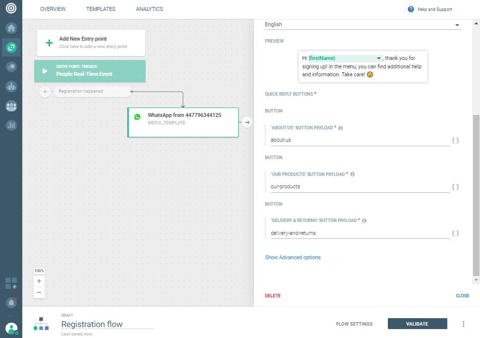 Whatsapp Registration notification use case - Define button payload