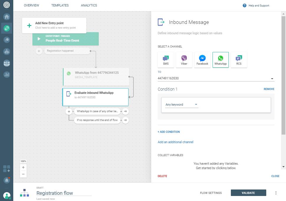 Whatsapp Registration notification use case - Evaluate inbound message