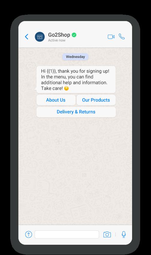 WhatsApp Registration notification use case - Mockup message