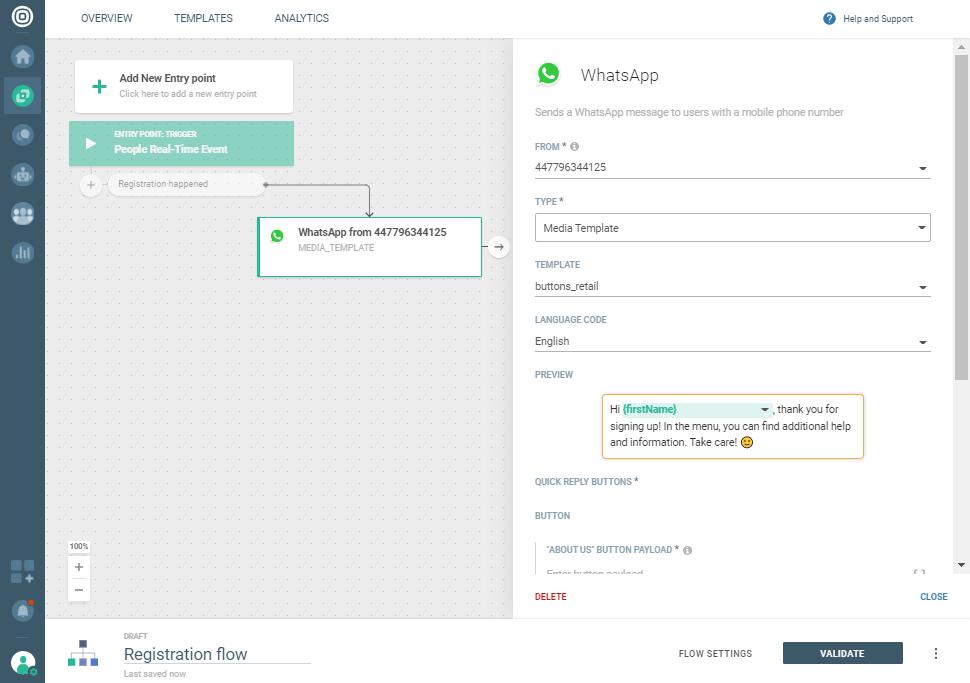 WhatsApp Registration notification use case - Use media template